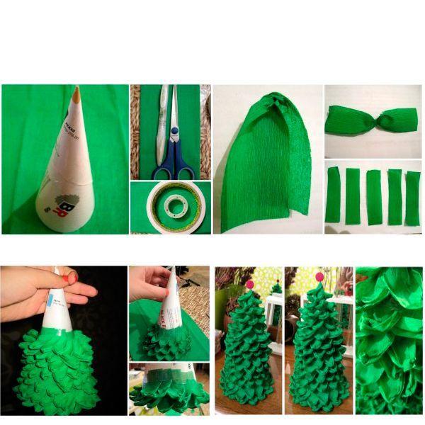 Сделайте заготовки так, как показано на фото. После этого получившиеся зеленые «лепестки» нужно приклеивать к основанию при помощи скотча.