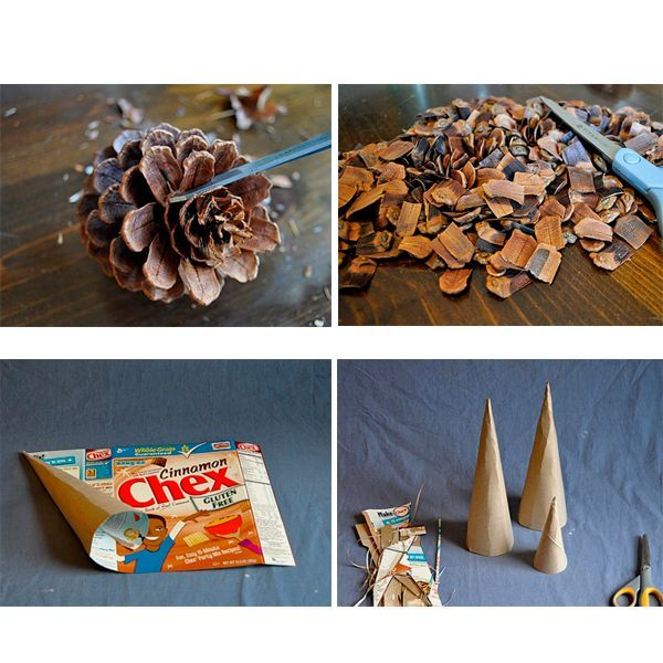 Следующим этапом из плотной бумаги или картона мы сделаем конус. Затем просто берем в руки чешуйки и приклеиваем их по кругу, начиная с основания конуса.