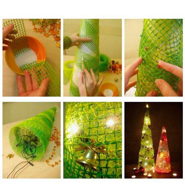 Для того, чтобы сделать сделать елку из упаковочного материала, вам понадобится обернуть ее конусом, после чего поместить внутрь светящуюся гирлянду. Украсить елочку можно по вашему вкусу.