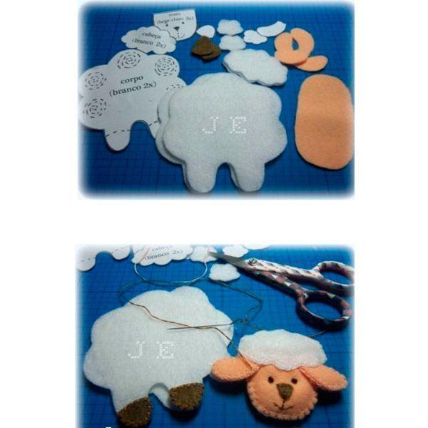 Перенесите выкройку, которую вы увидите на следующем фото, на ткань. Вырежьте детали и приступайте к пошиву. Мордочку овечки можно вышить нитками мулине.