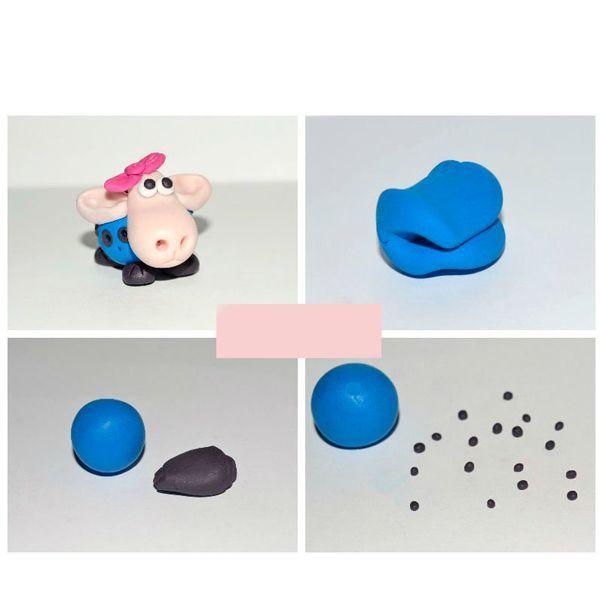 Сначала изготовим тельце нашей зверушки. Для этого из синего кусочка глины скатываем шарик величиной  примерно два - три см.  Из черной глины делаем много мелких шариков.