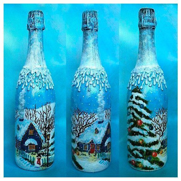 Для декора бутылки нам понадобится: бутылка шампанского без этикетки, кисти, губка, ножницы, малярный скотч, декупажная салфетка, акриловый лак, акриловые краски и контуры.