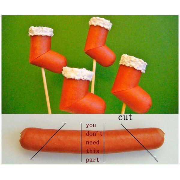 Оригинальная идея - канапе из сосисок. Как разрезать сосиску, показано на фото. Опушку можно сделать из плавленного сырка с майонезом.