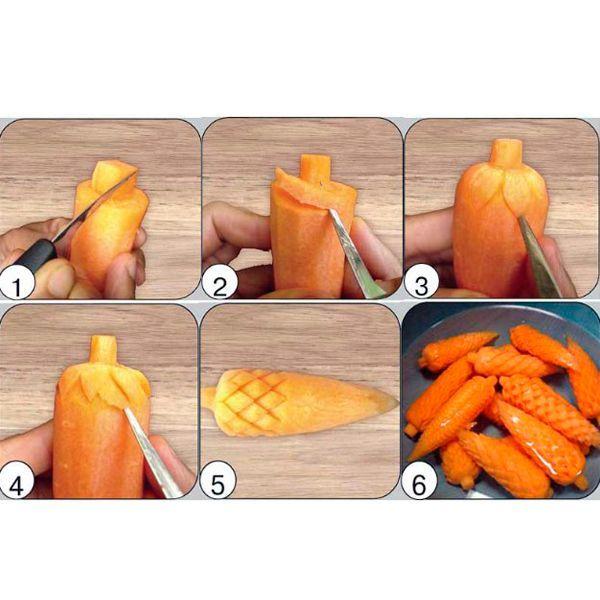 Можно сделать сосновые шишки из моркови. Вам понадобится очень острый нож и морковь, сваренная до полуготовности. Вырезаем так, как показано на фото. Когда шишка будет готова, опускаем ее в кипящую воду и довариваем.
