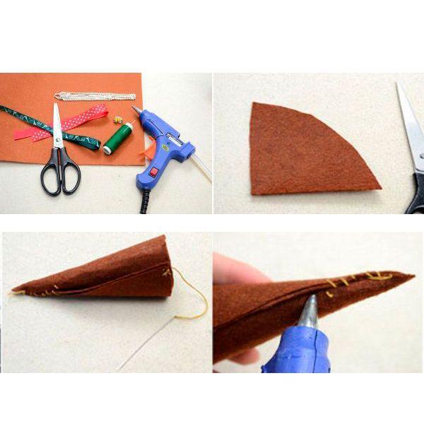 Вырезаем из плотного фетра или войлока четверть окружности и вкручиваем ее в конус.