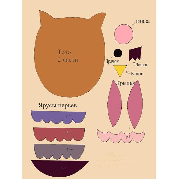 Используя выкройку-схему вырежьте все детали поделки из фетра: 2 части тела мягкой совы, 2 глаза и два зрачка, по одному левому и правому крылу, полоски перьев, носик и по желанию лапки.