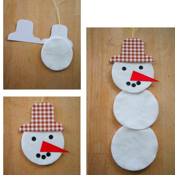 Вложите между двумя деталями ватный диск - голову снеговика и шнурок для подвешивания. Оформите лицо снеговика.