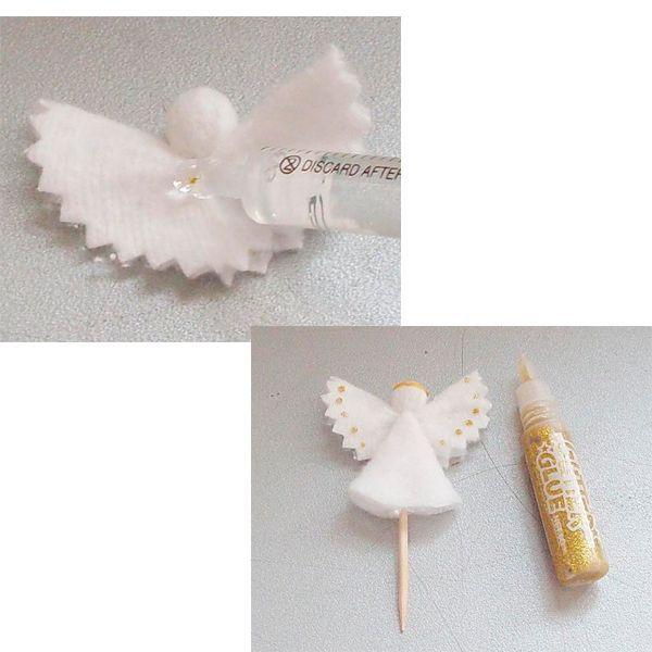 Приклейте к корпусу голову и крылья. Ангел почти готов. Осталось украсить его глиттерами или другими элементами декора.