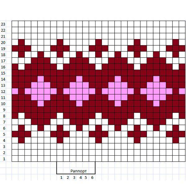 Чтобы распределение петель в вашей схеме узора было максимально правильным, увеличьте картинку узора-образца так, чтобы каждая вывязанная петля хорошо просматривалась.