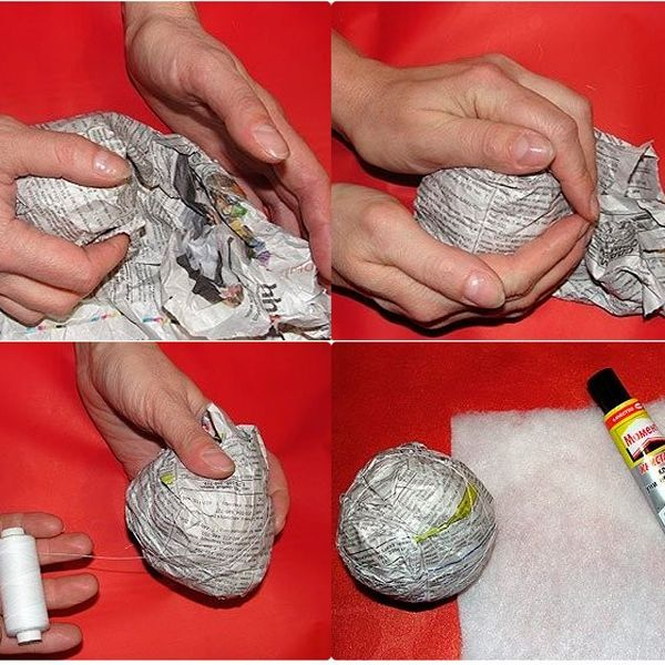 Сначала нужно сделать шарик, используя газеты. Когда вы смяли газетные страницы в шарик, оберните его в еще один лист. Чтобы удержать Форму шара, обмотайте его ниткой.