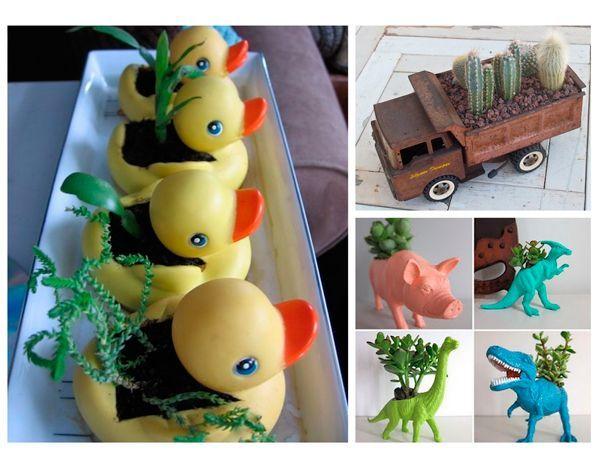 Из пустых внутри игрушек среднего размера получатся отличные небольшие вазончики. Сделайте небольшое отверстие и посадите растение в такой необычный вазон.