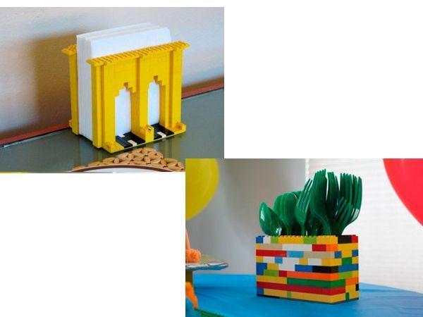 Салфетница и коробка для столовых приборов тоже могут быть сделаны из ненужных игрушек. Отлично подойдет для этих идей конструктор лего.