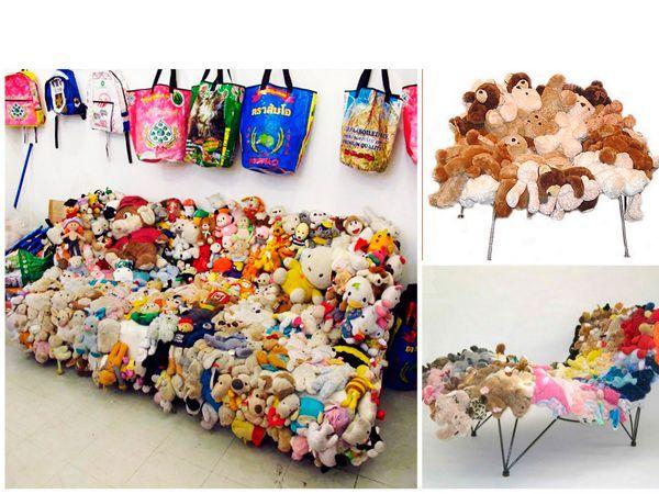 Из старых мягких игрушек получаются прекрасные пуфики, стулья и даже диваны. Для этого игрушки сшиваются между собой.