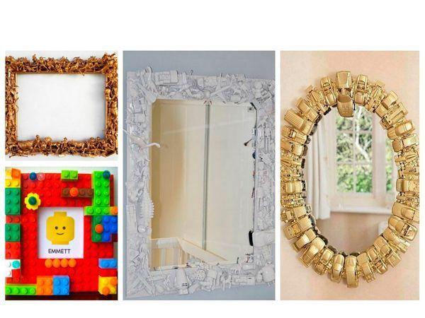 Рамка для зеркала или для фотографий. Если у вас есть пара ненужных машинок или ребенок больше не интересуется ЛЕГО, используйте их для создания интересных и необычных рамок.
