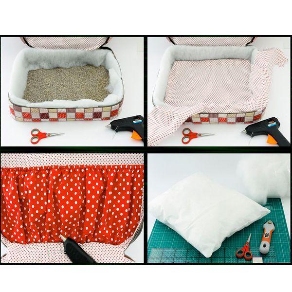 Положить в кроватку подушечку. Добавить игрушки и украсить ленточками. Не только кошечка, но и собачка с удовольствием будут спать в такой кроватке.