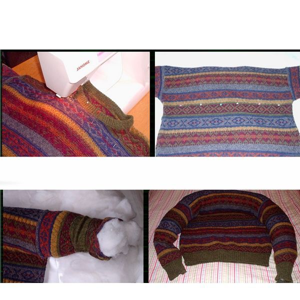 Раскладываем свитер на столе, прокладываем на нем шов от рукавов, по прямой. Шьем так, как показано на фото.