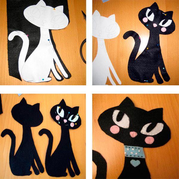 Нарисуйте кошку на бумаге и перенесите выкройку на фетр. Из фетра вырежьте две половинки кошки. На лицевой стороне оформите мордочку, пришейте ошейник. Усики можно вышить, а можно сделать из лески или проволоки.