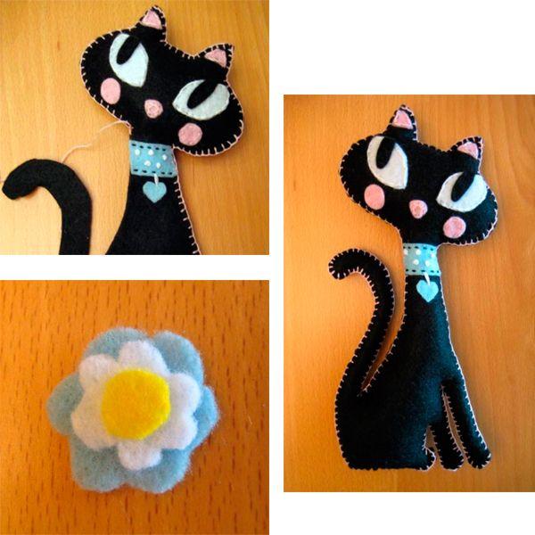 Сложите обе половинки и сшейте, используя декоративный шов. Набейте игрушку наполнителем и зашейте до конца. Украсьте вашу кошечку цветком из фетра.