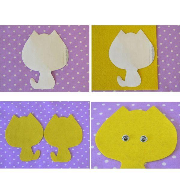 Рисуем на желтом фетре с помощью этого шаблона 2 стороны кота. Не забываем, что они не симметричны, а потому располагаем 1 сторону кота по отношению к другой зеркально. На 1 стороне карандашом намечаем расположение глаз, носика.