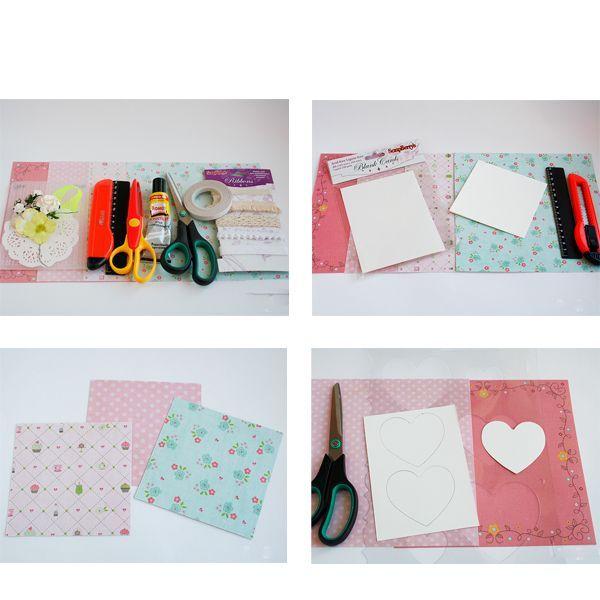 Итак, начнем. При помощи канцелярского ножа и линейки обрезаем заготовки для открыток до формы квадрат (длина стороны 10,5 см), получаем квадратную заготовку для открытки. Из бумаги для скрапбукинга вырезаем квадратные основы для наших открыток со стороной квадрата 10,2 см. Из отдельной заготовки для открытки (можно использовать любую плотную бумагу) вырезаем сердечки, предварительно воспользовавшись трафаретом для обрезания фотографий в форме сердца.