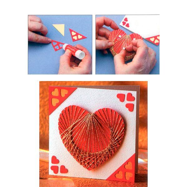 Переведите на красный картон два треугольника с сердечками для украшения углов открытки и вырежьте их. Обведите эти треугольники на золотой бумаге и вырежьте из нее два треугольника несколько меньшего размера. Расположите красные треугольники на противоположных по диагонали углах открытки и приклейте их с помощью клея-карандаша. В двух оставшихся углах приклейте вырезанные красные сердечки.