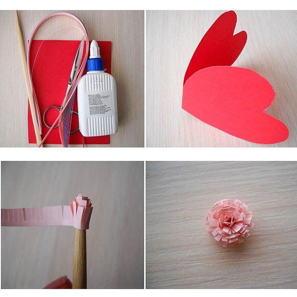 Для самой открытки- сердечка подготовим лист картона красного цвета. Согнем его пополам и по шаблону, который нарисовали заранее, вырежем сердечко с учетом того, чтобы оно открывалось, как открытка.