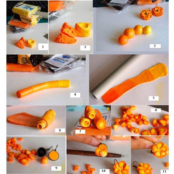 Разделим эти кусочки на несколько частей и затем смешиваем их между собой так, чтобы получился плавный градиент от оранжевого цвета к желтому.  Теперь собираем из этих кусочков «колбаску». Специальной «качалочкой» раскатываем эту колбаску на пласт. Толщина этого пласта — не больше 3-4 мм.