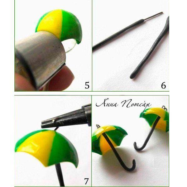 Облепите пластикой два штифта, чтобы получились ручки зонтов. Загнуть их можно круглогубцами после запекания.  Теперь нужно запечь заготовки. Для этого подойдет духовка, электрическая печь или аэрогриль. Температура запекания зависит от выбранной пластики, для фимо это 110 градусов. Время запекания около 20мин.