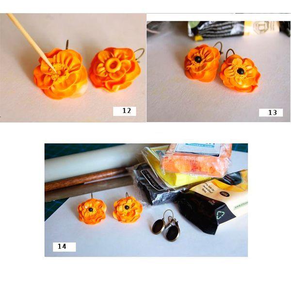 Удаляем все неровные края и нарезаем нашу новую колбаску на элементы — мотивы. Заполняем полимерной глиной основу нашей сережки.  Пальцем разминаем полученный элемент-мотив, немного расплющиваем. После этого его нужно закрепить на основе сережки стеком или зубочисткой.