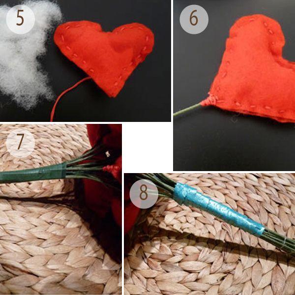Через зазор набейте сердечко ватой/синтепоном. Вставьте флористическую проволоку в зазор, зашейте сердечко до конца и закрепите. Все сердечки для букета скрепите флористическим скотчем (или изолентой подходящего цвета).