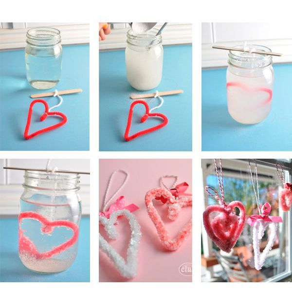 Помните, как в детстве мы выращивали кристаллы? Попробуйте сделать такие кристальные сердечки! Сердечко можно сделать из цветной проволоки, после этого его необходимо поместить в концентрированный соляной раствор (в теплую воду добавляйте постепенно соль до тех пор, пока она не перестанет растворяться). Остается подождать несколько дней, а чтобы сердечко росло быстрее, то меняйте раствор на новый каждые 2-3 дня.
