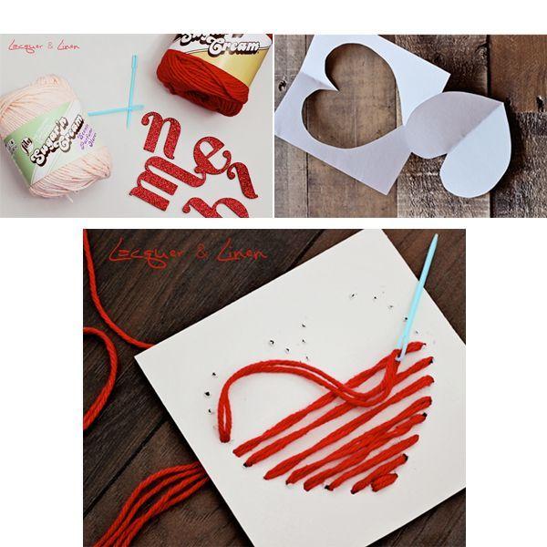 Для начала, нам нужно вырезать шаблон сердца, по которому мы сможем иголкой проколоть дырки в картоне и вышить сердца пряжей. Продеваем пряжу в ушко иглы, после чего от основания сердца до верха, заполняем сердце пряжей. Повторяем этот процесс, пока сердце не будет заполнено полностью. Завершающей деталью, станут наклеенные на сердца буквы.