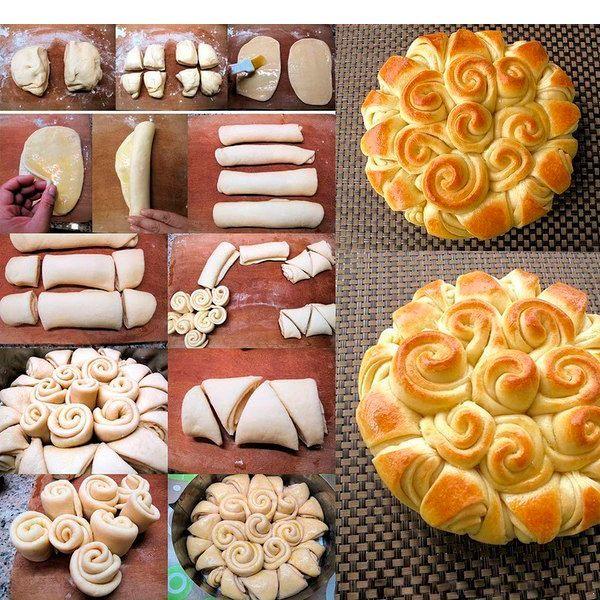 Чтобы сделать пирог в виде розочек, необходимо раскатать тесто на несколько овалов толщиной 0.5 см и свернуть каждый трубочкой. Нарезать трубочки из теста так, как показано на фото. У вас получатся листики и розы. Уложить их в форму, сформировав пирог.