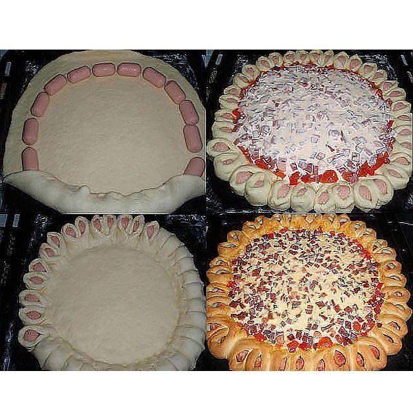 Таким образом можно оформить не только пиццу, но и любой другой пирог с несладкой начинкой. Уложите по краю раскатанного теста кусочки сосисок. Заверните края. Разрежьте и уложите так, как показано на фото.