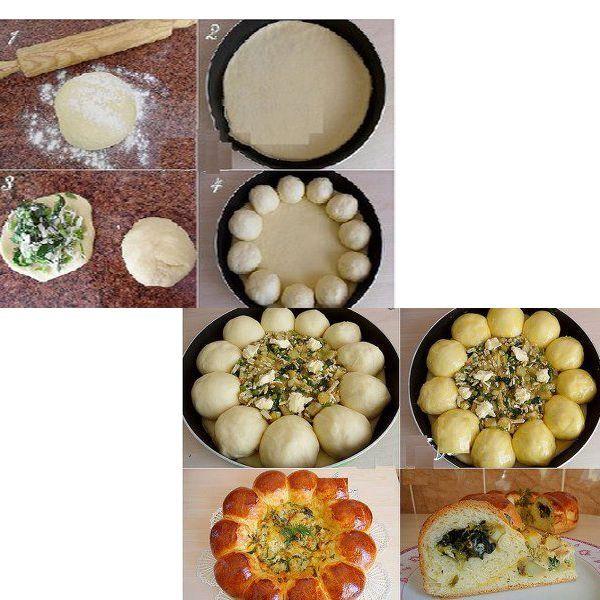 Раскатайте тесто по диаметру формы. Сделайте много маленьких шариков с начинкой. Уложите их по периметру формы на тесто. Середину заполните начинкой.