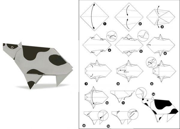 Корову можно сделать одноцветную или пятнистую. Пятнышки можно сделать с помощью аппликации или нарисовать краской, фломастером или карандашом.
