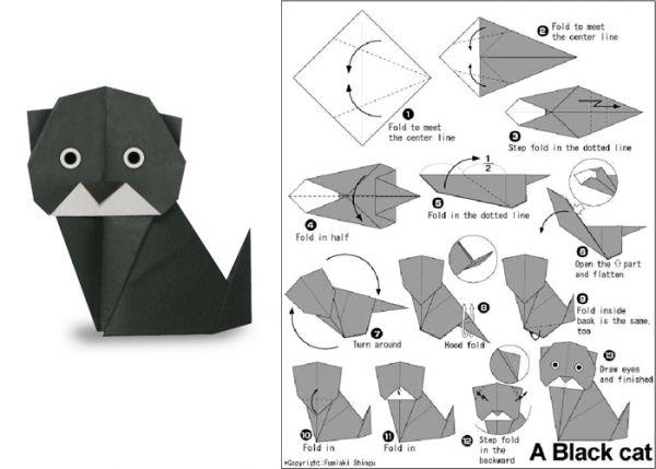Схемы и поделки в технике оригами на тему животные