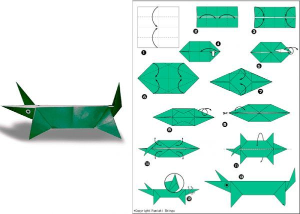 Для создания крокодила вам понадобится бумага зеленого цвета. Лучше использовать плотную бумагу, тогда фигурка будет более устойчивой. Базовая фигура - квадрат.