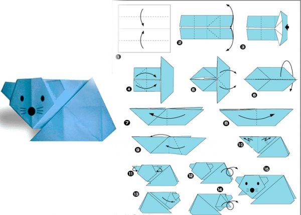 Забавную мышку можно сделать из квадратного листа бумаги серого, белого или голубого цвета. Поскольку мышь - животное мелкое, квадрат также можно использовать небольшой.