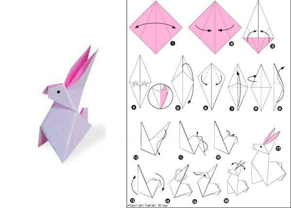 Для того чтобы сделать белого кролика с розовыми ушами, желательно подыскать двухстороннюю бумагу. Базовая фигура - квадрат, белой стороной от себя.