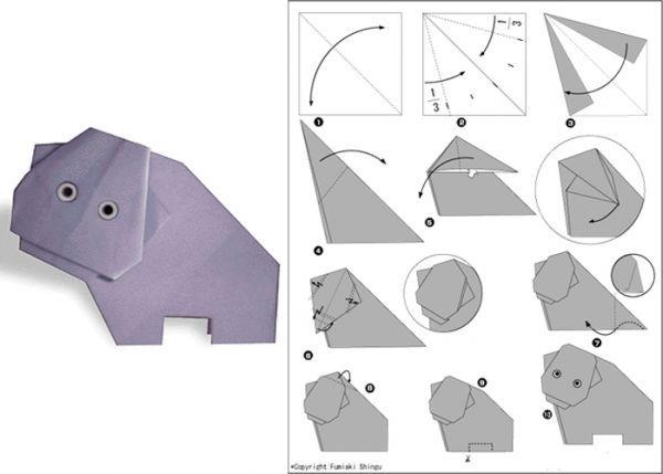 Бегемота желательно делать из бумаги серого или синего цветов. Сделайте из листа квадрат, согните его по диагонали.