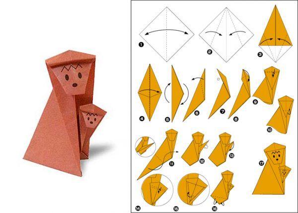 Из бумаги можно сделать двух очаровательных обезьянок. Вам понадобится квадратный лист бумаги коричневого цвета. Согните его по диагонали, далее следуйте схеме.