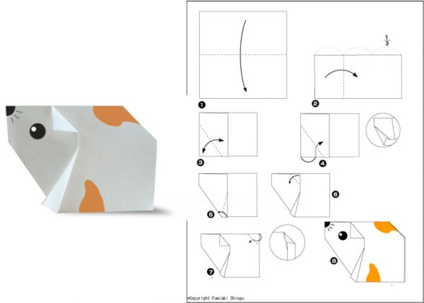 Для создания хомячка вам понадобится черный фломастер для того, чтобы нарисовать носик, усики и глазки. Базовая фигура - квадрат.