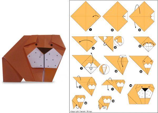 В технике оригами можно сделать собак разных пород, и бульдога в том числе. Для того чтобы нарисовать мордочку, вам понадобится фломастер. Бумагу используйте двухцветную.