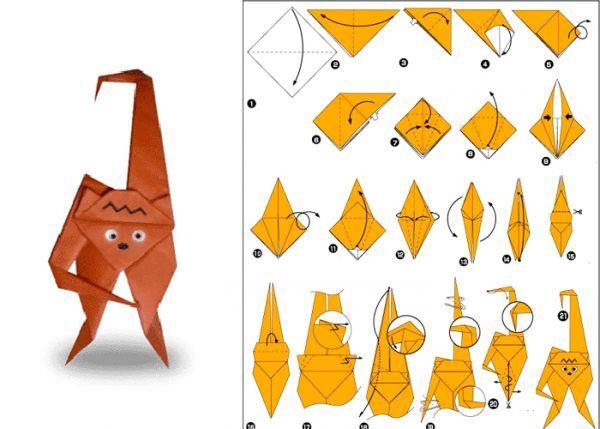 Для того чтобы сделать забавную мартышку, возьмите лист бумаги коричневого цвета. Придайте ему форму квадрата, после чего согните по диагонали.
