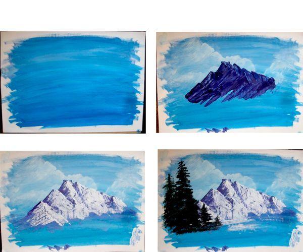 Для начала сделаем фон. Закрасим лист акварелью синего цвета. Следующим шагом будет изображение гор. Рисуем их темным цветом, после покрываем светлым слоем. Рисуем ель.