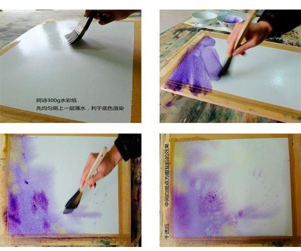 Наш рисунок будет выполнен в сиреневых тонах. Тон должен быть полупрозрачным, поэтому разбавляем акварель сильнее.