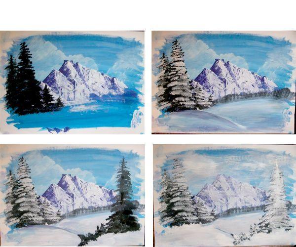 Елки также рисуем сначала темно-зеленым оттенком, после покрываем их светлым, снежным слоем.