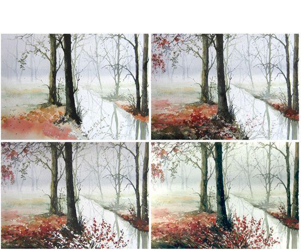 Приступаем к рисованию деревьев. Важно для этого рисунка добиться эффекта прозрачности воды. Работа готова.