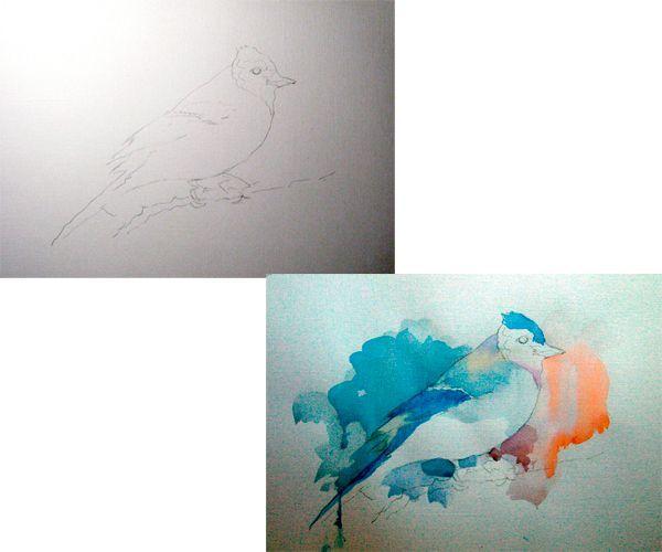 Начинаем рисунок с эскиза. Акварелью синего цвета выделяем крылья. спинку и головку, а также пространство над птичкой.